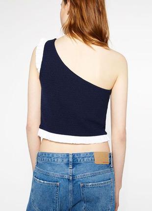Новый топ,блуза на одно плече,рюшами,воланы, zara
