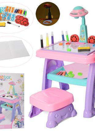 Детский столик с проектором для рисования, магнитной доской, б...