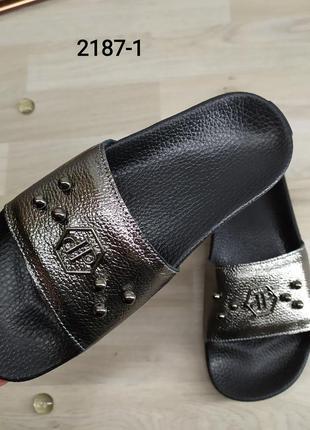 Шлепанцы женские кожаные, украина цвет никель