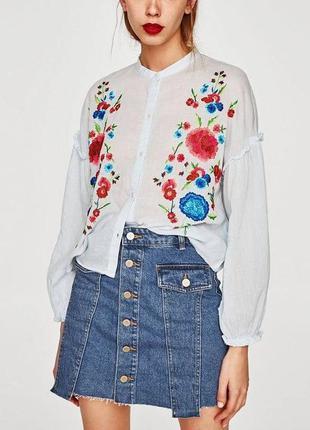 Блузка рубашка  вышиванка в этно бохо стиле zara