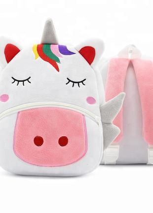 Мягкий дошкольный детский рюкзак игрушка рюкзачок с единорогом