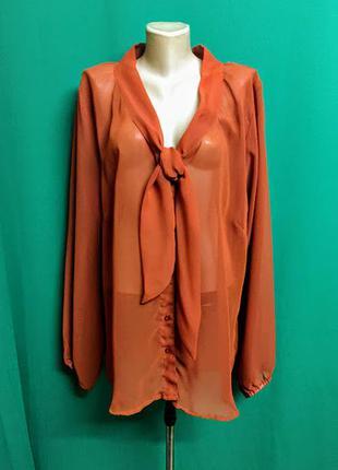 Терракотовая шифоновая блуза