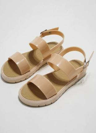 Распродажа! женские бежевые силиконовые сандалии (босоножки)