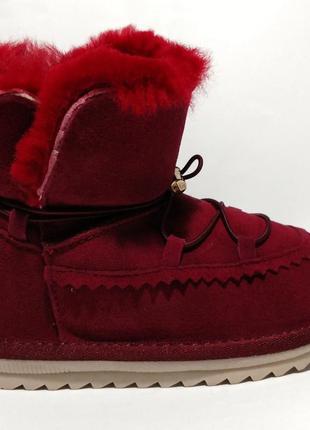 Угги детские, бордовые угги, зимняя детская обувь