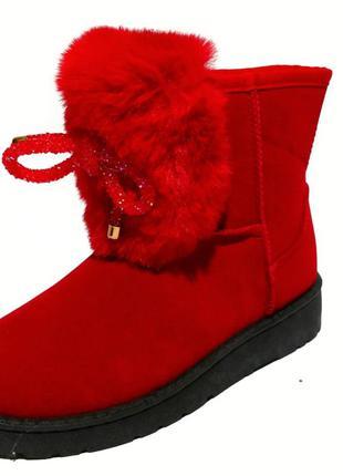 Угги красные, зимняя детская обувь,сапоги зимние