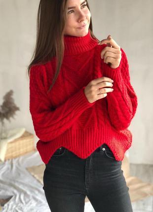 Красный базовый теплый свитер вязаный