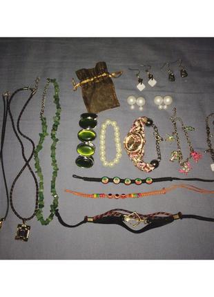 Комплект набор украшений браслет серьги кулоны крестик цепочка