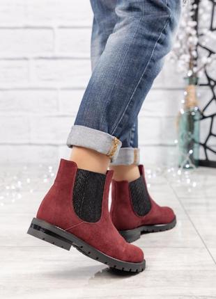 ❤ женские бордовые весенние деми замшевые ботинки полусапожки ...