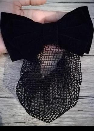 Заколка для волос бант+мешочек сетка для хвоста