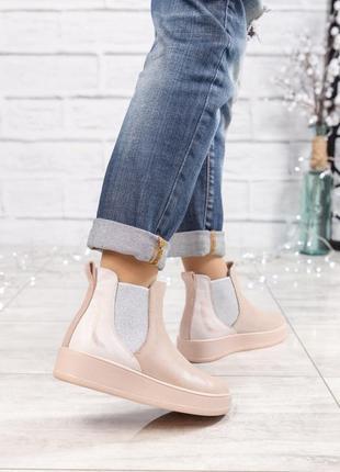 Акция до 01.09 ❤ женские пудровые весенние деми кожаные ботинк...