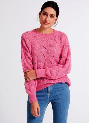 Розовый мягкий теплый удлиненный джемпер свитер