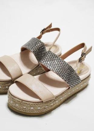 Распродажа! женские пудровые (бежевые) босоножки (сандалии) на...