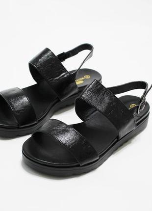 Распродажа! женские черные  сандалии (босоножки) на плоской че...