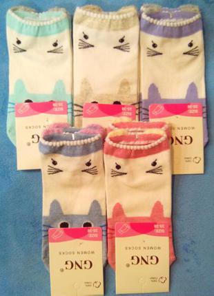 Носки женские короткие с ушками и мордочками премиум качество