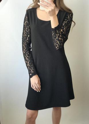 Платье чёрное мини короткое прямое рукава кружево а силуэта кл...