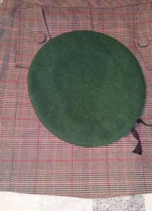 Зелений смарагдовий шерстяний берет зі шкіряною окантовкою № 16