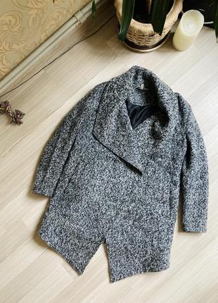 Divided пальто шерстяное рябое асимметричное черно белое стиль...