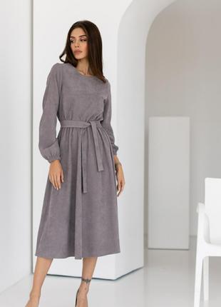 Платье вельветовое серое миди