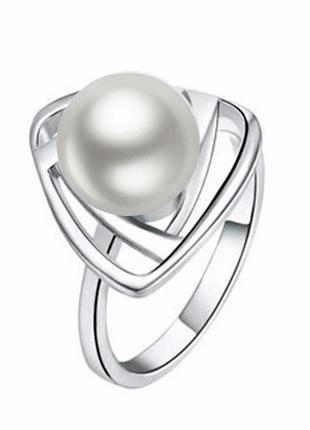 🏵ювелирное стильное жемчужное кольцо треугольник, 16,5-17 р., ...