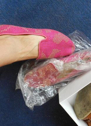 ✅балетки лоферы розовые в стразах размер 39