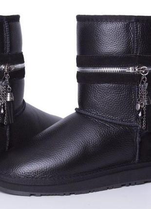 Ugg угги u-40 черные тёплые угги женская обувь натуральная кожа