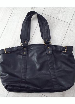 Сумка кожа pu. зручна сумка, чорна, велика сумка, через плечо.