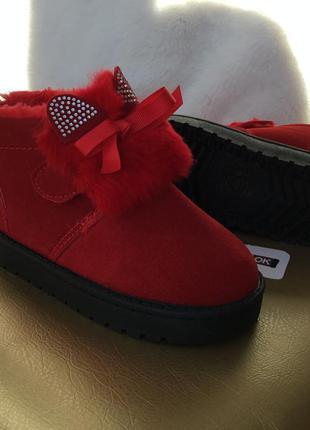 Sale  детские красные ботинки угги сапожки на липучках для дев...