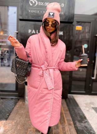 Пальто зимнее розовое тёплое на запах с поясом карманы