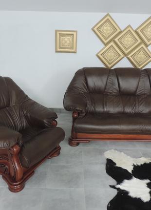 Кожаный комплект мебели на дубе, мягкая кожаная мебель Alfa