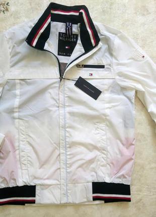 Крутая белая ветровка куртка м 3xl tommy hilfiger