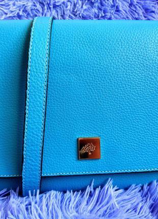 Классная голубая кожанная сумка mulberry
