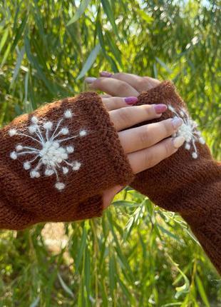 Митенки перчатки без пальцев «Нежный одуванчик»