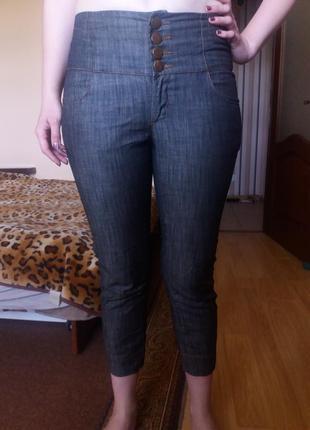 Джинсовые укороченные брюки завышенная талия котоновые 38 р ve...