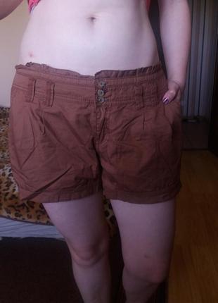 Новые котоновые коричневые шорты на лето new look 14!с