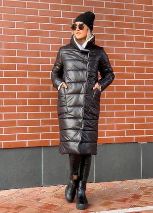 Дутая куртка пальто пуховик с воротником стойкой и карманами ки