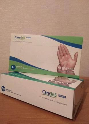 Перчатки виниловые Care365 PREMIUM без пудры Прозрачные