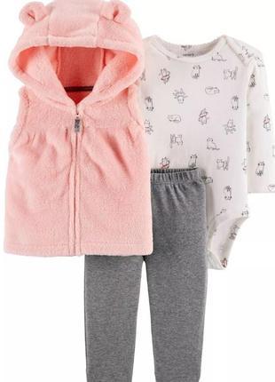 Комплект на девочку с розовой жилеткой carters 12, 18, 24 мес