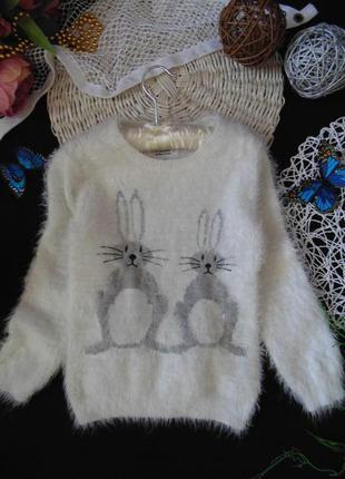 6-7лет.гламурный свитерок с зайцами young dimension.