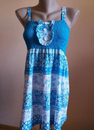 Красивое летнее платье сарафан в цветы котоновое на девочку 14...
