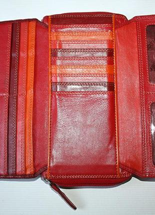 Красный кожаный большой кошелек-клатч visconti100% кожа оригин...