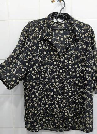 Стильная шифоновая блуза рубашка на пуговках