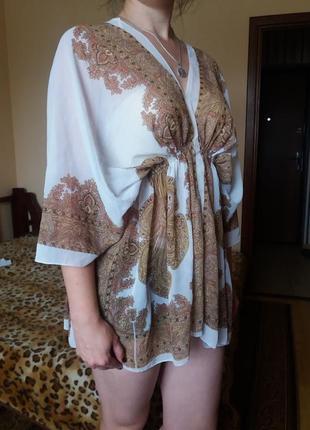 Легкая белая блуза туника на лето на пляж с узорами 10-14 р!
