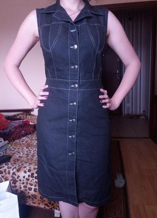 Джинсовой сарафан платье на пуговицах ниже колен 10-12 р состо...