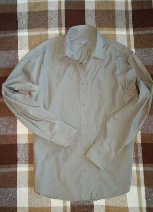 Рубашка h&m цвета хакки, узкая но не приталенная, на длинные руки