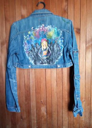 Короткая джинсовая куртка болеро ручная роспись