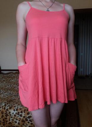 Удлиненная новая майка персикового цвета с карманами topshop 1...