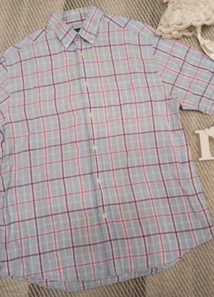 Шведка рубашка в клетку лен льняная