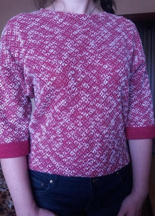 Модная кофта малинового цвета с удлиненным задом с замочком ne...
