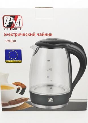 Стеклянный электрический чайник PRO MOTEC. PM 810 ?с подсветко...