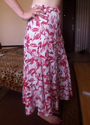 Натуральная яркая длинная юбка  из льна солнце клеш в цветы 12...